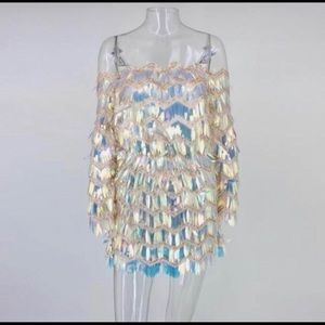 Iridescent sequins dress
